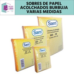 SOBRES ACOLCHADOS CON PLÁSTICO DE BURBUJA ALVEOLAR PARA ENVÍOS POSTALES - MARCA SAM