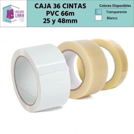 Cintas Adhesivas de PVC de calidad superior, color transparente y blanco 66m x 25 y 48mm