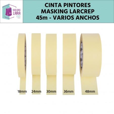 Cinta Crepe Masking Tape para pintores, 45m x varios anchos, color marfil